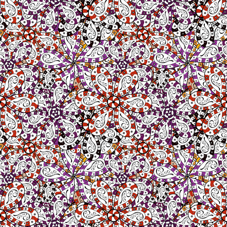 Seamless Abstract Retro Background Design. White, black and purple on colors. Vector. Pattern. Tender fabric pattern. Ilustracja