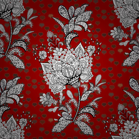 Stylish fabric pattern. Seamless Doodles white, black and red on colors. Vector. Vintage. Stok Fotoğraf - 126739287