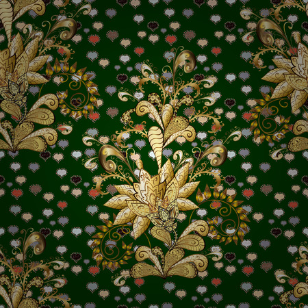 Floral ornament brocade textile pattern, glass, metal with floral pattern on blue, brown and beige colors with golden elements. Classic vector golden seamless pattern. Vettoriali