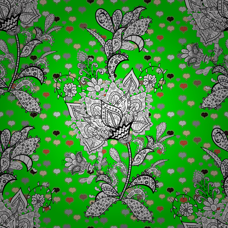 Vector texture. Seamless pattern Beautiful fabric background. Illustration. Doodles on a white, black and green colors.  イラスト・ベクター素材