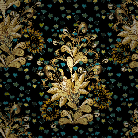 Vector - stock. Seamless background pattern. Flowers with leaves and chamomile with cornflowers on black, brown and yellow colors.