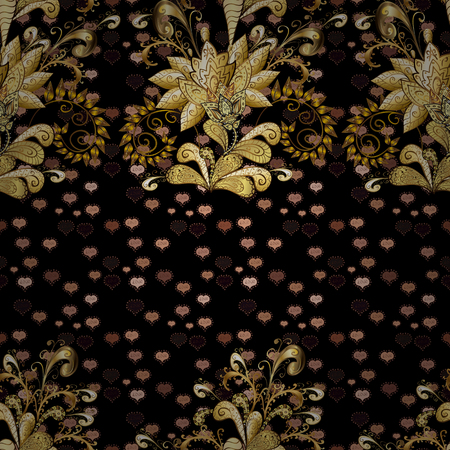 Golden floral ornament in baroque style. Antique golden repeatable sketch. Golden element on beige, black and brown colors. Damask seamless pattern repeating background.