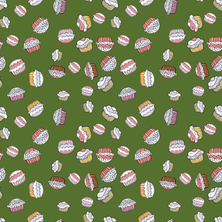 Seamless pattern with sweet Cupcakes pattern. Sweets background design. Nice birthday background on green, neutral and white. Vector illustration.