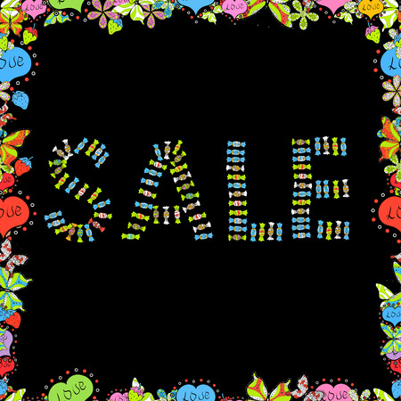 Promotion offer with decoration on blue, green and black colors. Vector illustration. Sale banner template with elements on colorful background. Spring background. Seamless. Card for saling.