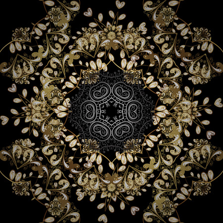 Floral tiles. Vector golden textile print. Seamless pattern oriental ornament. Islamic design. Golden pattern on black colors with golden elements. Illustration