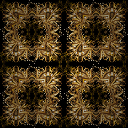 Vector vintage baroque floral seamless pattern in gold. Luxury, royal and Victorian concept. Golden pattern on a brown, beige and black colors with golden elements. Ornate decoration.