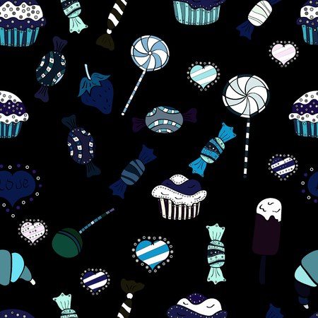 Flat style Vector illustration. Of sweets on black, blue and white background. Seamless candies. For game, postcard, invitation and web design. Ilustração