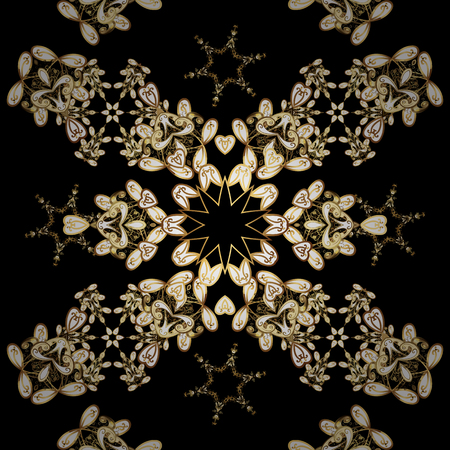 Damask seamless pattern for design. Vector seamless pattern on yellow colors with golden elements.