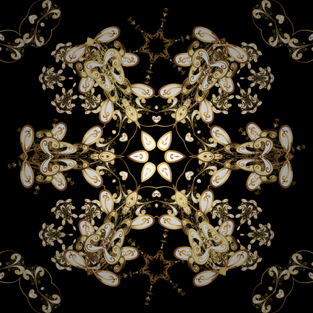Seamless golden pattern. Yellow colors with golden elements. Vector golden floral ornament brocade textile and glass pattern. Gold metal with floral pattern.