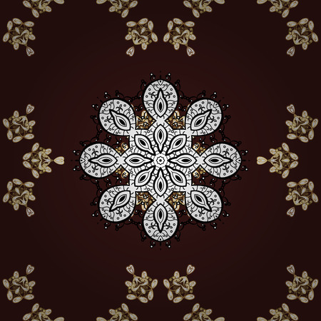 Seamless pattern oriental ornament. Vector golden textile print. Islamic design. Floral tiles. Golden pattern on brown, white and black colors with golden elements.