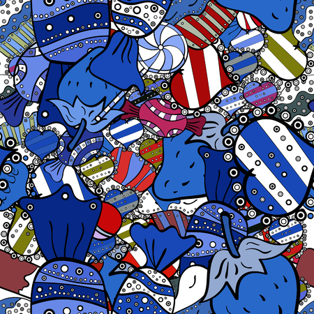 Vector illustration. Wrapping paper. For food poster design on blue, white and black. Seamless with cupcake.
