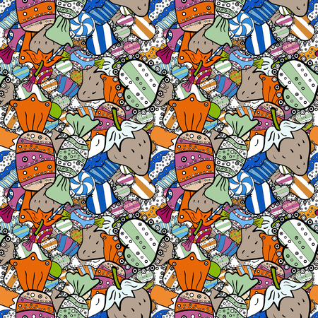 Vector illustration. Seamless pattern of sweet candy on orange, black and white colors. Illustration