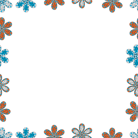 Picture in white, blue and orange colors. Hand drawn doodle frames. Vector. Seamless.