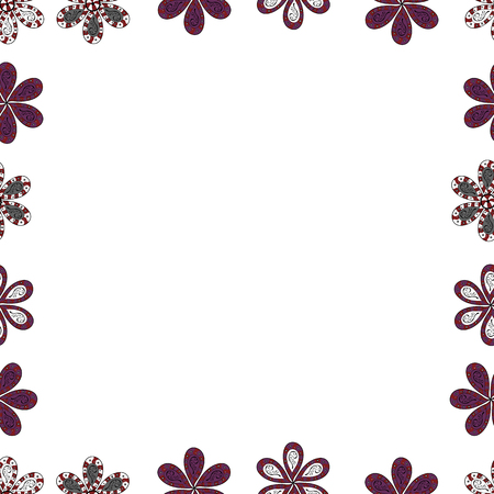 Seamless pattern. Hand-drawn doodle frames.Illustration in white, purple and red colors. Vector illustration.