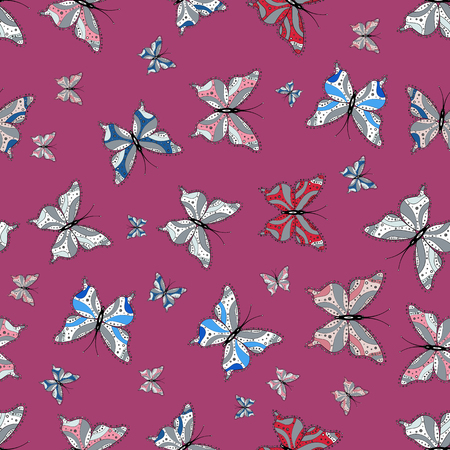 Seamless background of colorful butterflies. Nice background for design of fabric, paper, wrappers and wallpaper. Vector illustration.