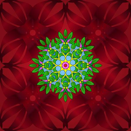 Seamless.Leaves. Manifold leaves on green, red and blue colors. Vector illustration. Ilustração Vetorial