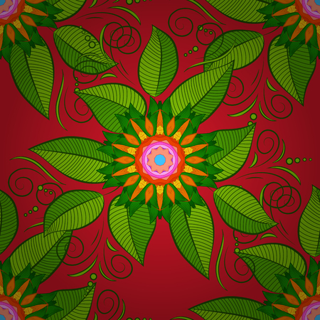 Seamless pattern with banana and palm leaves in Vector illustration. Leaves on a orange, green and red colors. Çizim