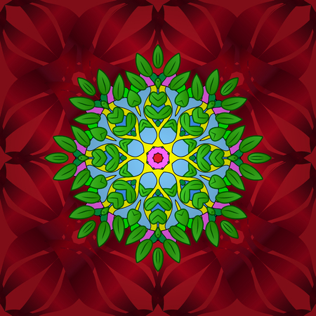 Ethnic texture. Arabic Mandala pattern on green, blue and red colors. East, Islam, Indian, motifs. Orient, symmetry lace, fabric. Colored. Vintage vector decorative ornament. Wedding, holiday card.