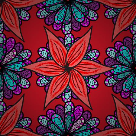 Flores en colores negro, rosa y rojo. Vector de pintura de flores para impresión de camisetas. Fondo floral sin patrón.