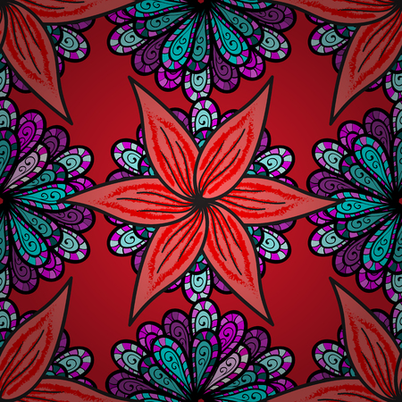 Flowers on black, pink and red colors. Flower painting vector for t shirt printing. Floral seamless pattern background.