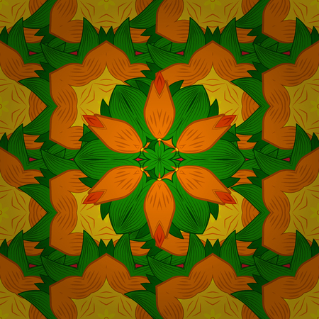 Vector circular abstract mandalas pattern. Colored Mandala on a orange, yellow and green baqckground. Round ornament with intertwined branches, flowers and curls. Arabesque.