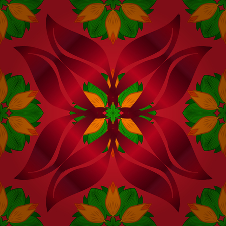 In nice textile style on red, green and orange colors. Floral seamless pattern with watercolor flowers. Vector illustration.