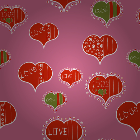 Elements on pink, red and white colors. Seamless Love pattern with hand drawn doodle hearts. Valentines Day design.