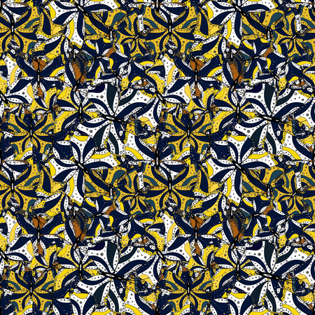 Seamless Beautiful fabric pattern. Vector. Doodles white, yellow and blue on colors.