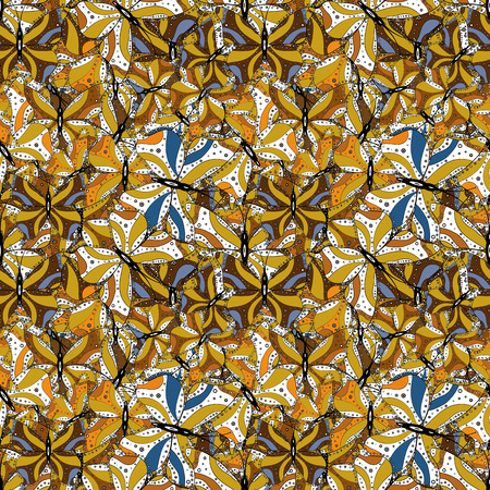Doodles pattern. White, yellow and brown on colors. Seamless Abstract interesting background. Tender fabric pattern. Vector.