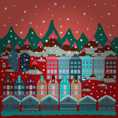 Illustration on pink, blue and red colors. Pattern houses. Vector illustration.