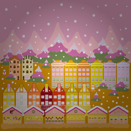 Landscape in magical forest. Postcard on pink, yellow and neutral colors. Unusual christmas illustration. Amazing fairy house decorated at christmas style. Vector illustration.