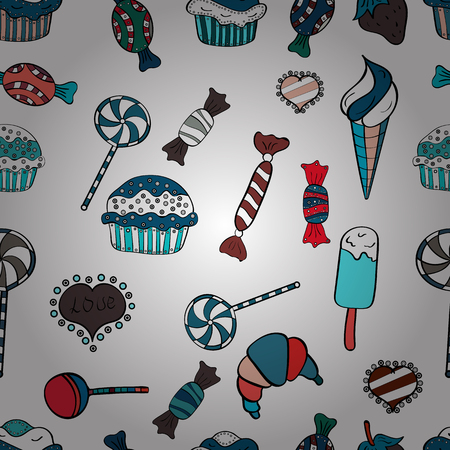 Cute hand drawn dessert illustration seamless pattern with white, blue and black background. Vector.