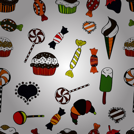 Quirky, abstract hand drawn seamless vector candy pattern. Colorful, retro hand illustrated Halloween treats on a white, black and red background.