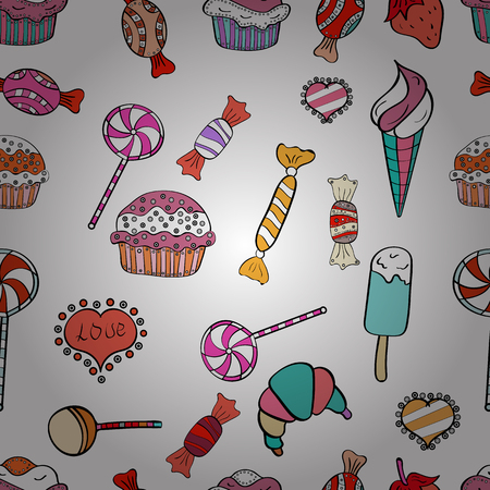 Vector illustration. Seamless cakes pattern. Food elements colorful repeated wallpaper on white, pink and black. Abstract backdrop for girls, wrapping paper.