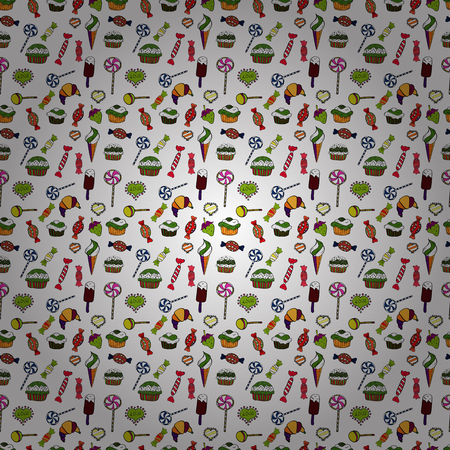 Vector. Colorful Candy seamless. On white, black and green colors.