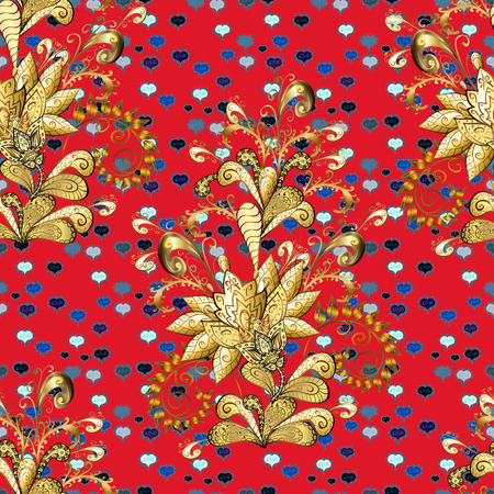 Golden element on red and brown colors. Vintage baroque floral seamless pattern in gold over red and brown. Luxury, royal and Victorian concept. Ornate vector decoration.