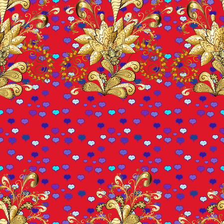 Damask seamless repeating background. Gold floral ornament in baroque style. Golden element on violet and red colors. Gold Wallpaper on texture background. Ilustração