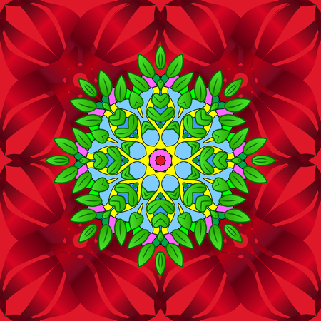 Vector round mandala in childish style. Vector nature seamless pattern with abstract ornament. Ornamental doodle green, red and blue colors.
