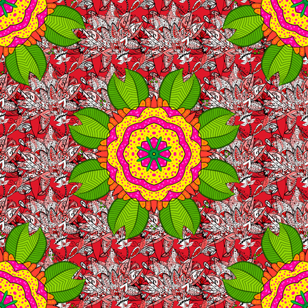 Flat Flower Elements Design. Seamless vintage. Colour Spring Theme seamless pattern Background. Vector Cute fabric pattern.