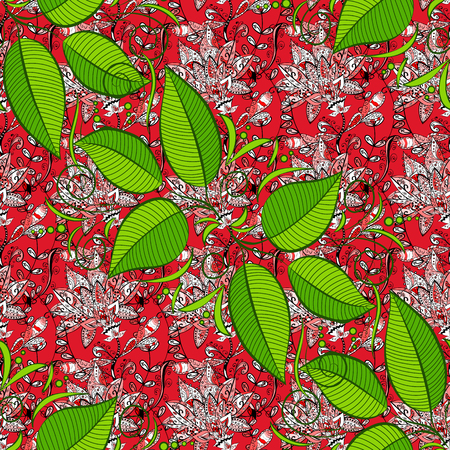 Leaves pattern on black, red and green colors Vector illustration. Seamless pattern with marine plants, leaves and seaweed. Hand drawn marine flora in watercolor style.