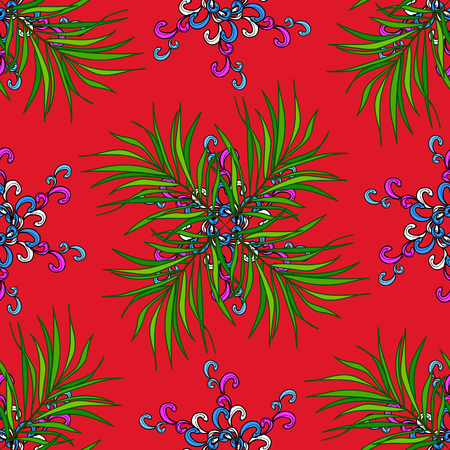 Green, black and red floral pattern for wallpaper or fabric. Botanic Tile. Vector. Flower. Seamless pattern with flowers and exotic leaves on green, black and red background.