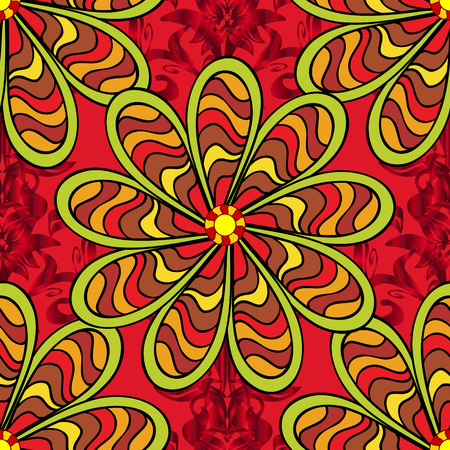 Cute flowers pattern with red, yellow and black colors. Colour Spring Theme seamless pattern Background. Flat Flower Elements Design. Vector Fashionable fabric pattern.