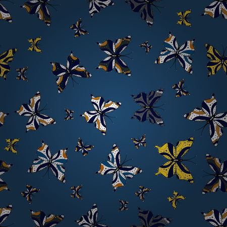 Background. Vector illustration. Abstract cute butterfly on blue, black and white colors. In simple style.  イラスト・ベクター素材