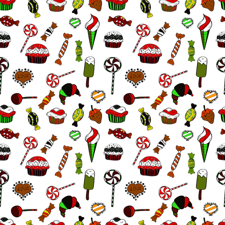 Seamless of cute vector cupcakes and muffins. Colorful cupcake isolated for food poster design on red, black and white.