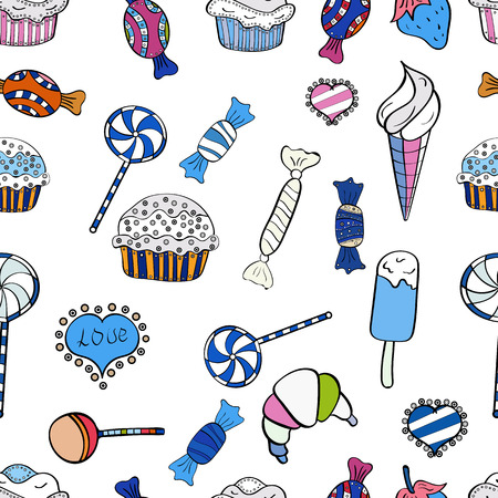 Vector. Seamless pattern with sweets - ice cream, cupcakes isolated on cute black, white and blue background. Can use for birthday card, the children menu, packaging, textiles, fabrics, wallpaper.