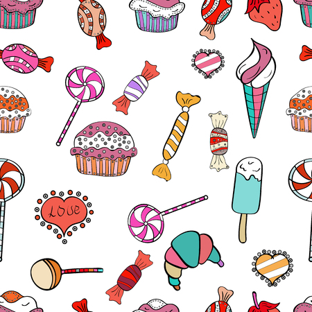 Vector illustration. Black, white and pink color. Wrapping paper. Seamless pattern with sweet desserts. Cream. Endless pattern, black, white and pink background.