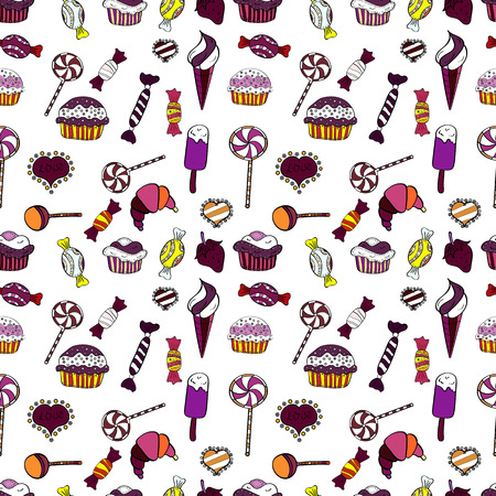 For food poster design. Seamless pattern cake. Vector illustration. Bright birthday pattern on white, black and purple.
