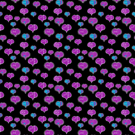 Seamless Valentine heart love seamless pattern with heart. Nice black, violet and white colors elements. Love wedding background design. Vector illustration.