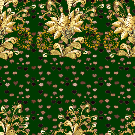 Vector illustration. Flowers on blue, brown and beige colors. Flower seamless on blue, brown and beige colors. Flourish ornamental spring garden texture. Floral pattern.