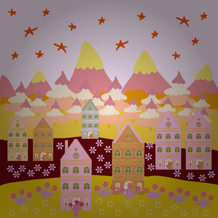 Vector illustration. Buildings on neutral, yellow and beige colors. Colorful bright houses with trees on the hills.